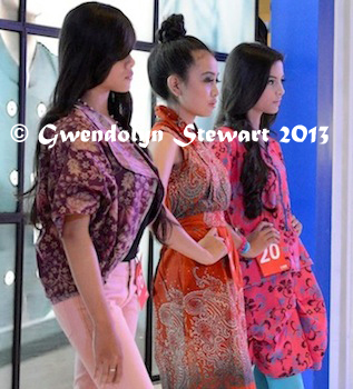 Three Women Take the Stage Together at the Plaza Ambarrukmo Beauty Contest, Yogyakarta, Indonesia, Photographed by Gwendolyn Stewart, c. 2014; All Rights Reserved
